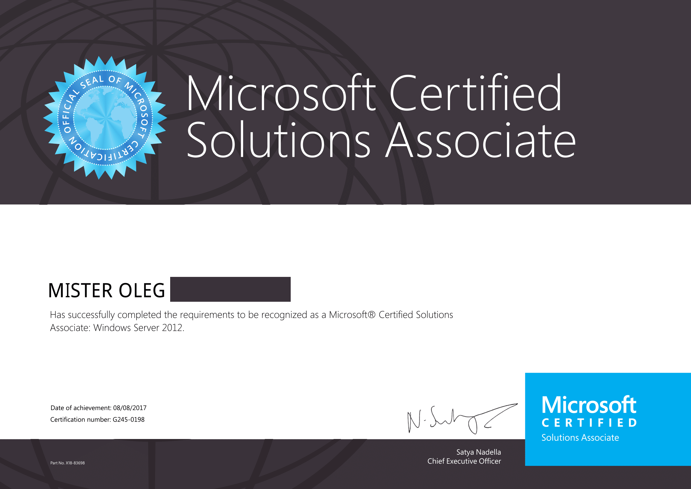 Successful passing of two microsoft exams and earning mcsa microsoft certifications 1betcityfo Gallery