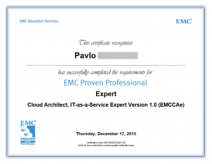 Cloud Architect as a Service Expert EMCCAe certificate
