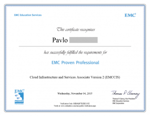 Cloud Infrastructure and Services Associate Version (EMCCIS) certificate