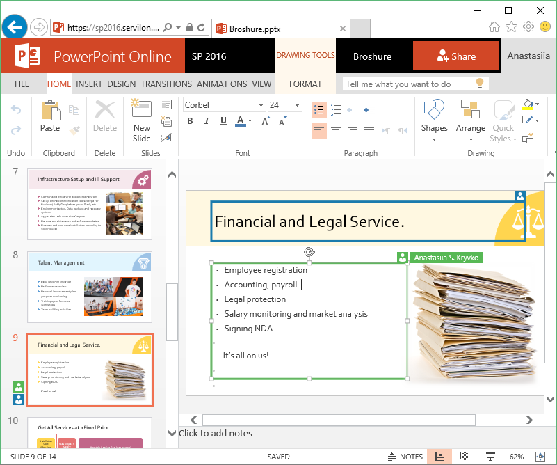 PowerPoint Online allows you to work simultaneously on one slide
