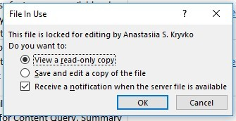 File in use by someone else