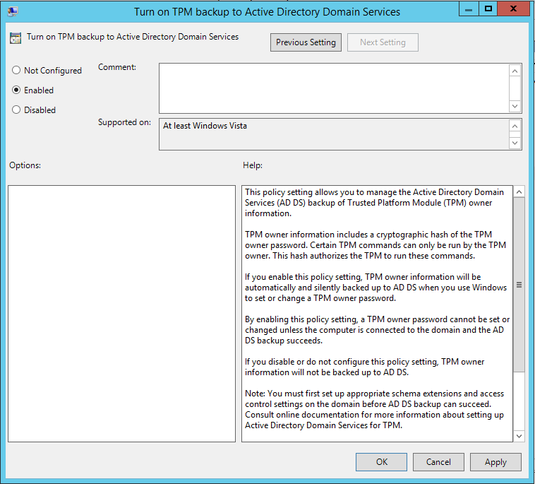 Turn on TPM backup to Active Directory Domain Services