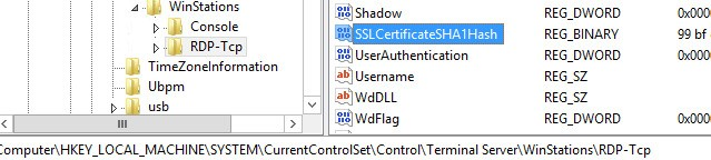 SSLCertificateSHA1Hash REG_BINARY