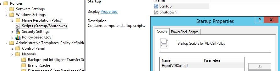 Startup Script ExportVDICert.bat
