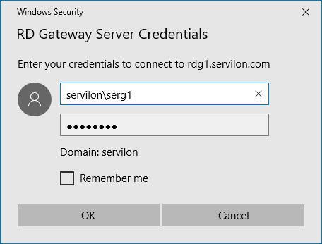 credentials access RDG server