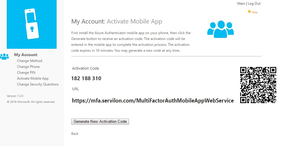 generate-new activation code azure mfa