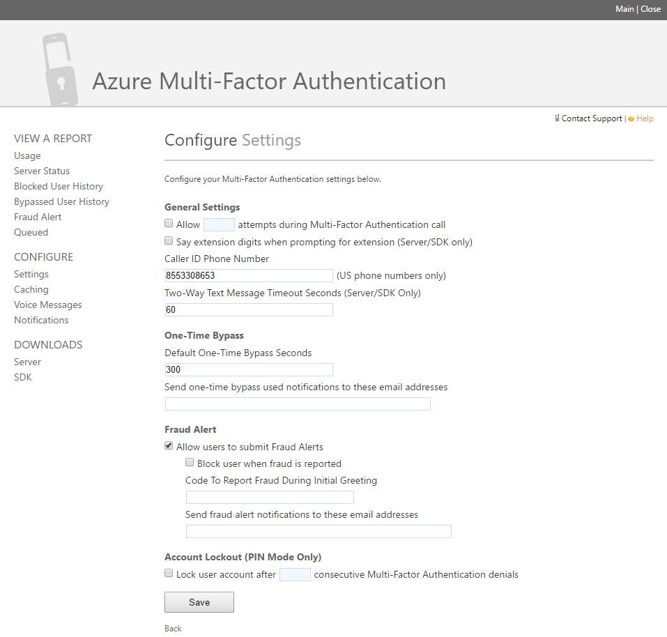 Azure MFA control panel