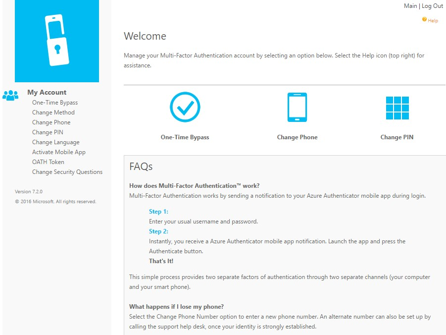 change personal settings azure mfa