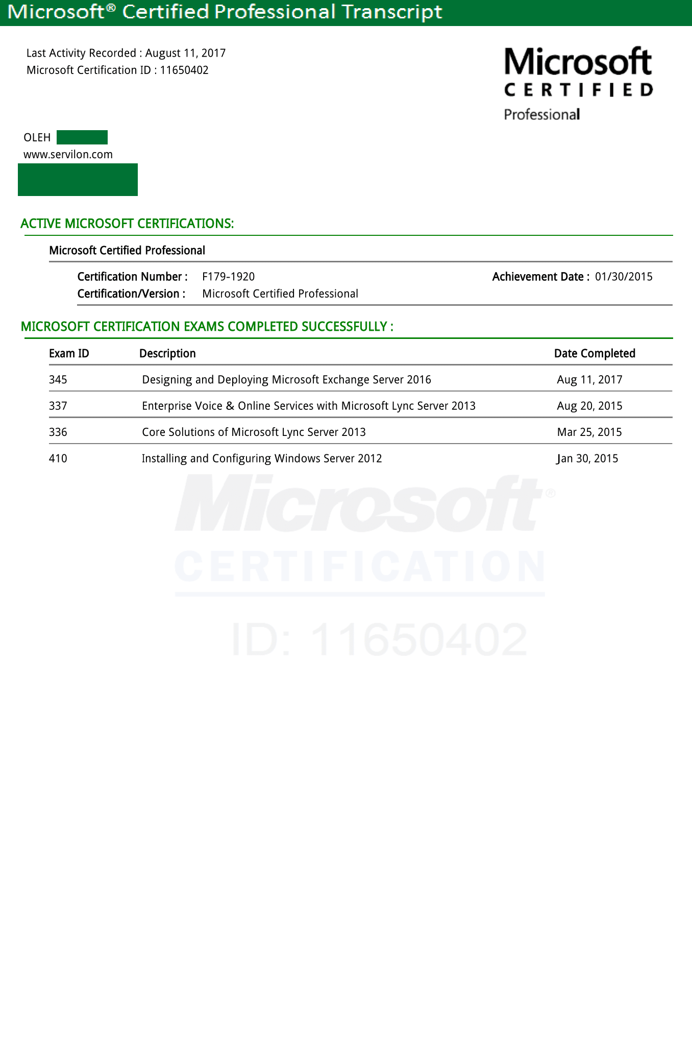 Certificates servilon microsoft certifications 1betcityfo Gallery
