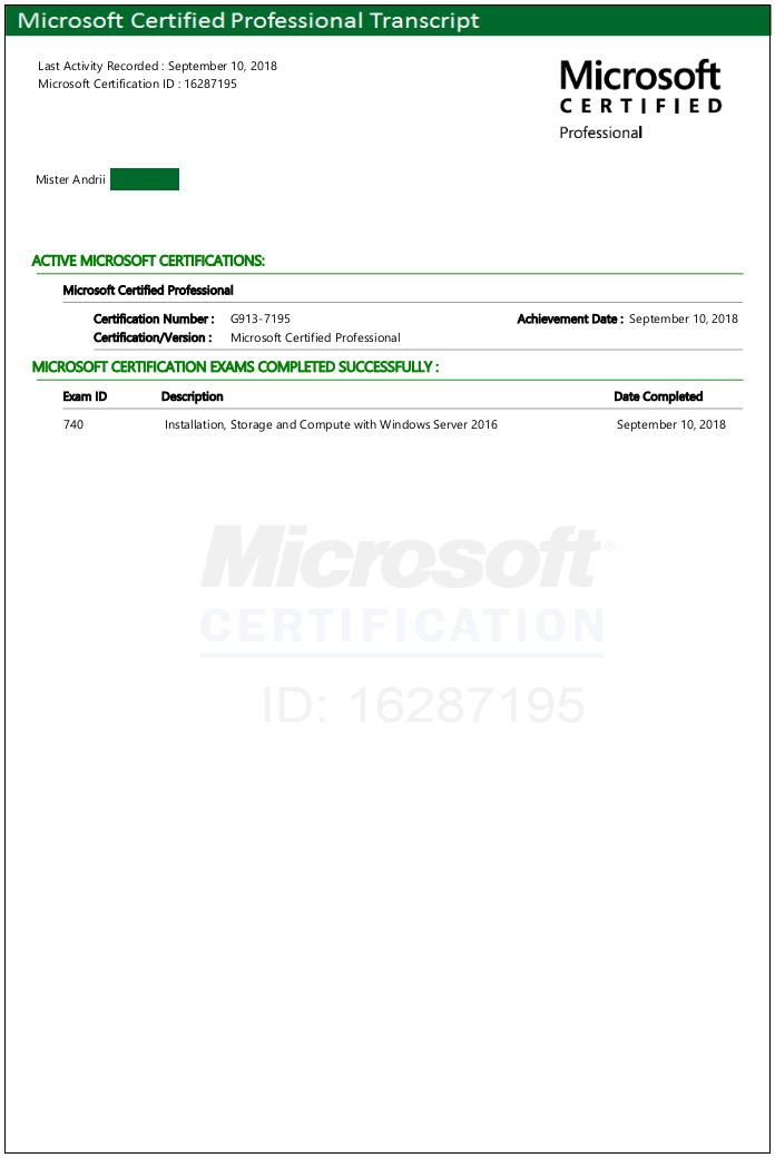 Microsoft Windows Server 2016 Certification Exam Servilon