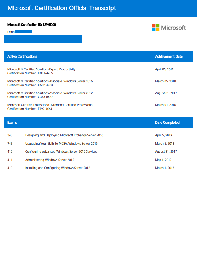 Microsoft Exchange Server 2016 certificate