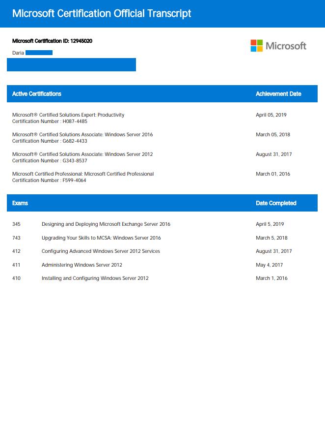 Microsoft Exchange Server 2016 certificate